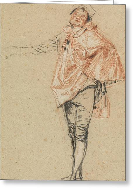 Study Of A Standing Dancer With An Outstretched Arm Greeting Card