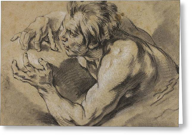 Study Of A Triton Greeting Card by Francois Boucher