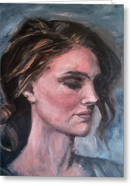 Study Of A Woman In Moonlight #1 Greeting Card by Brian Kardell