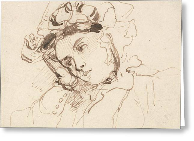 Study Of A Woman With Her Head On Her Hand Greeting Card by Richard Parkes Bonington