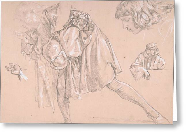 Study Of A Young Man Bending Forward To Kiss A Hand, For The Painting The Departure Of The Prodigal  Greeting Card by James Tissot