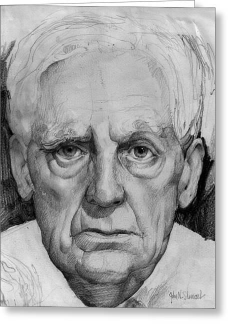 John Stewart Greeting Cards - Study of an Older Man Greeting Card by John Norman Stewart