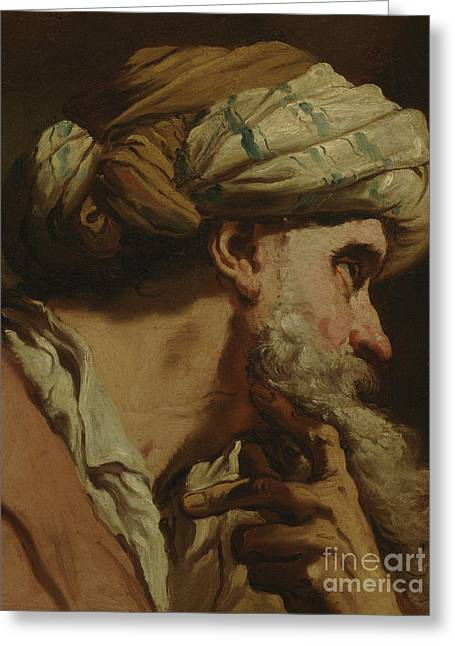 Study Of An Oriental Head Greeting Card by Gaetano Gandolfi
