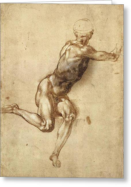 Study Of Figure To  Greeting Card by Michelangelo Buonarroti