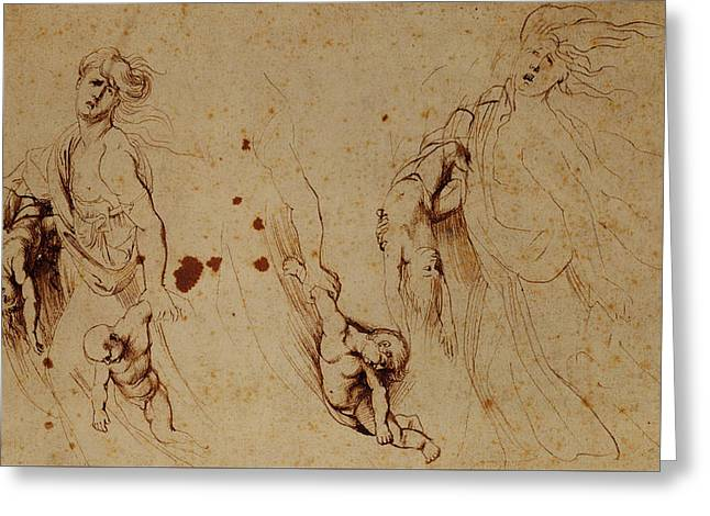 Study Of Medea Slaying Her Children Greeting Card by Peter Paul Rubens