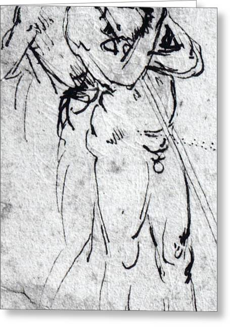 Study Of Nude Men  Greeting Card by Leonardo Da Vinci