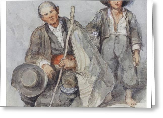 Study Of Peasants At Alcala De Guadaira Greeting Card