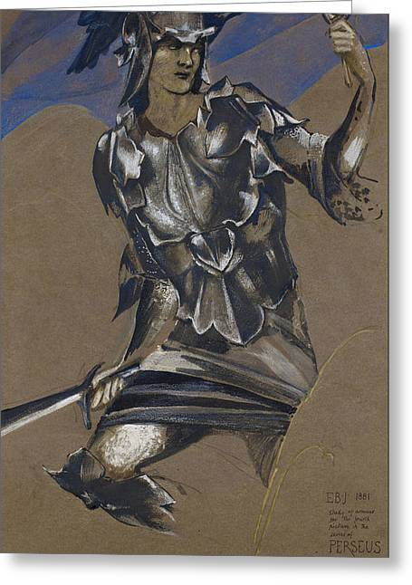 Study Of Perseus In Armour For The Finding Of Medusa Greeting Card by Edward Burne-Jones