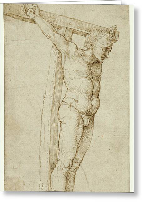 Study Of The Good Thief By Albrecht Durer Greeting Card