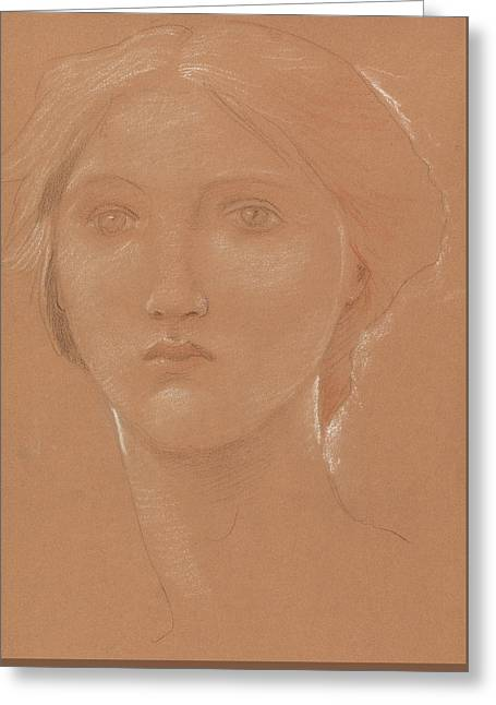Study Of The Head Of Margaret Burne Jones Greeting Card