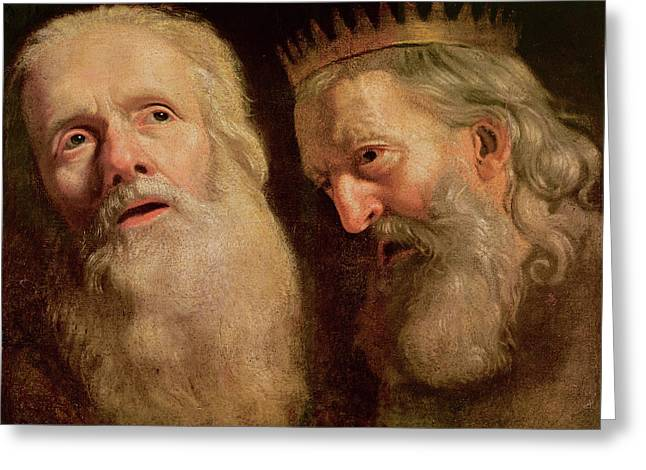 Study Of The Heads Of Two Old Men Greeting Card by Philippe de Champaigne