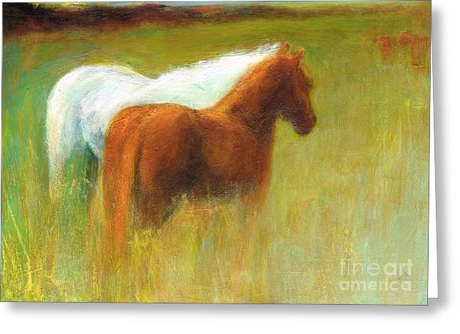 Study Of Two Ponies Greeting Card by Frances Marino