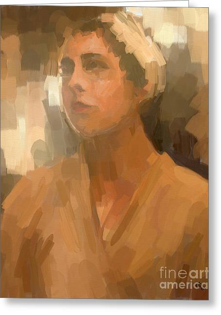 Study - Woman With Scarf Greeting Card by Carrie Joy Byrnes