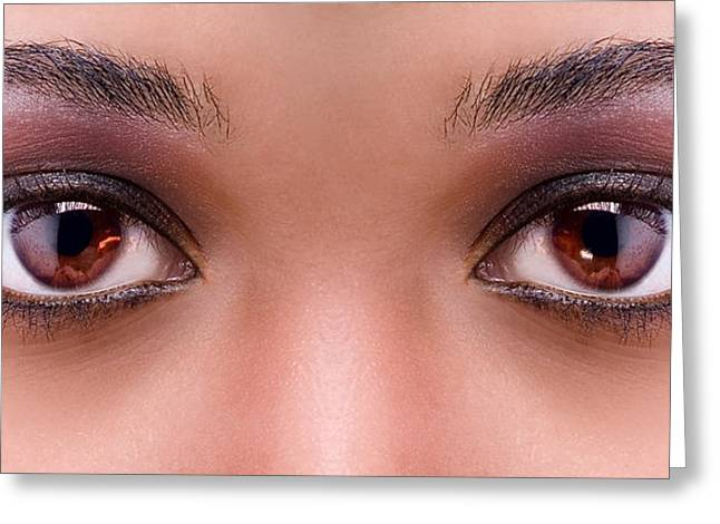 Stunning Eyes Greeting Card by Val Black Russian Tourchin