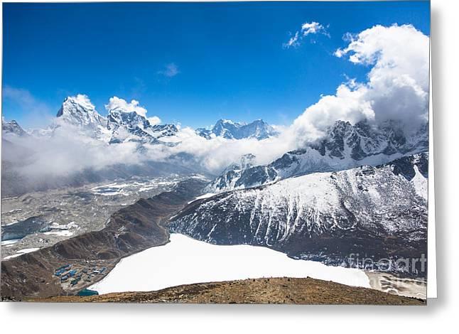 Stunning Panorama Over Gokyo In Nepal Greeting Card