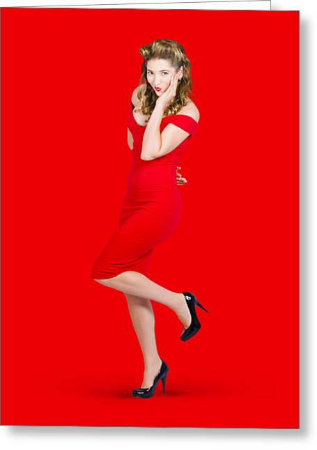 Stunning Pinup Girl In Red Rockabilly Fashion Greeting Card by Jorgo Photography - Wall Art Gallery