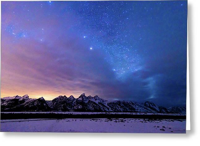 Stunning Star Filled Grand Teton Night Sky Greeting Card by Serge Skiba