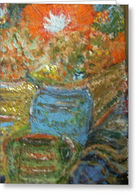 Stunning Still Life With Orange And Blue Greeting Card by Anne-Elizabeth Whiteway