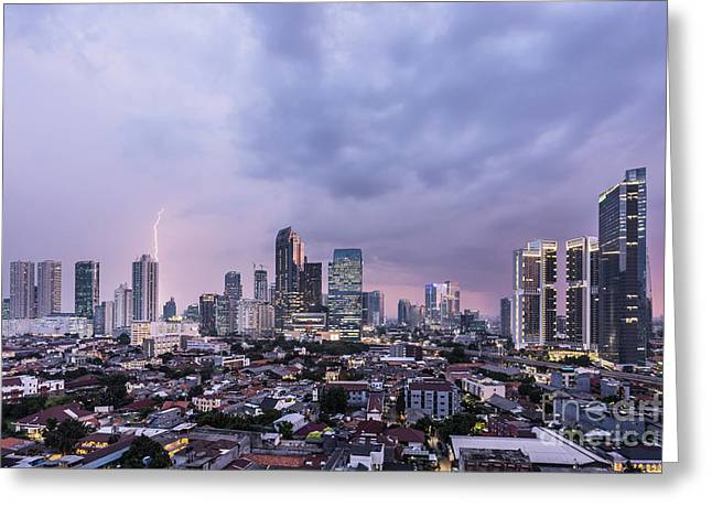 Stunning Sunset Over Jakarta, Indonesia Capital City Greeting Card