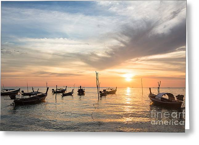 Stunning Sunset Over Wooden Boats In Koh Lanta In Thailand Greeting Card
