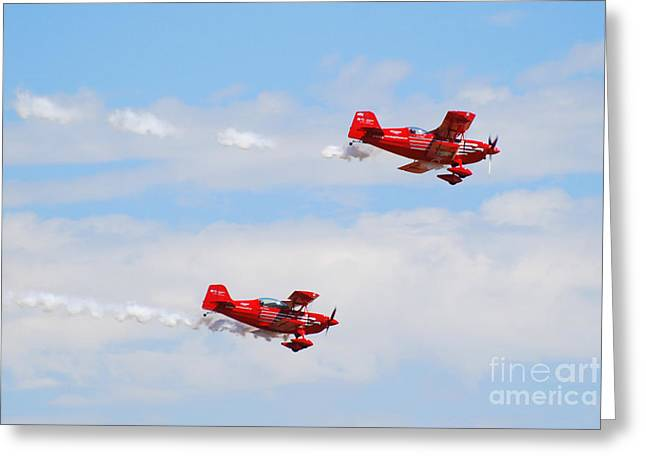 Stunt Pilots Greeting Card by Larry Keahey