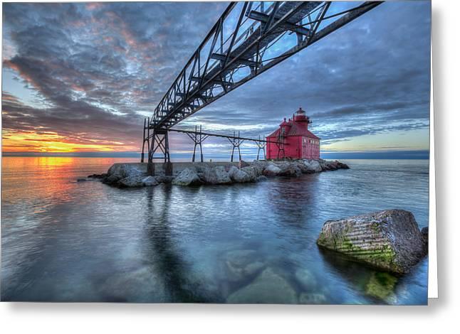 Sturgeon Bay Lighthouse Sunrise Greeting Card