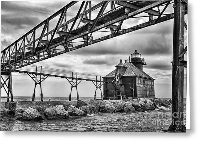 Sturgeon Bay Ship Canal North Pierhead Lighthouse In Black And White Greeting Card