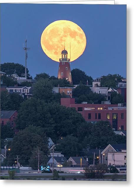 Sturgeon Moon Over Portland Observatory Greeting Card
