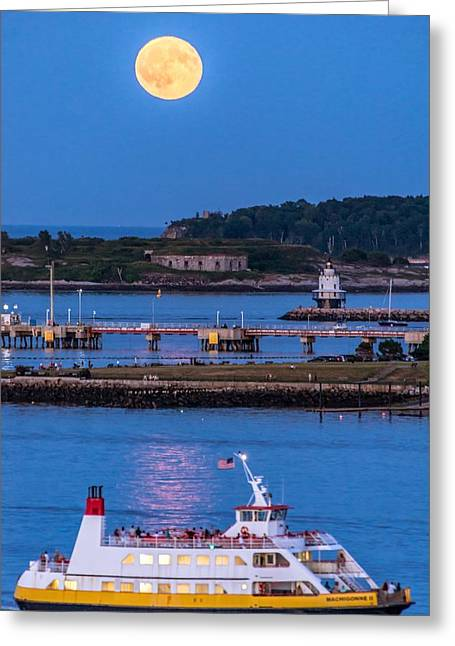 Sturgeon Moon Over White Head Greeting Card by Tim Sullivan