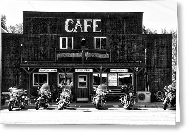 Sturgis Pit Stop Hulett Wyoming 04 Bw Greeting Card by Thomas Woolworth