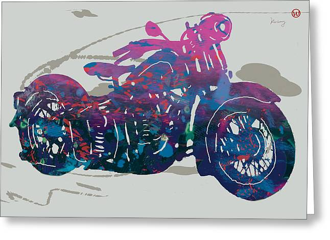 Stylised Motorcycle Art Sketch Poster - 1 Greeting Card by Kim Wang