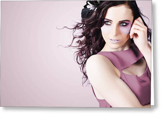 Stylish Portrait Of Fashion Girl In Purple Makeup Greeting Card