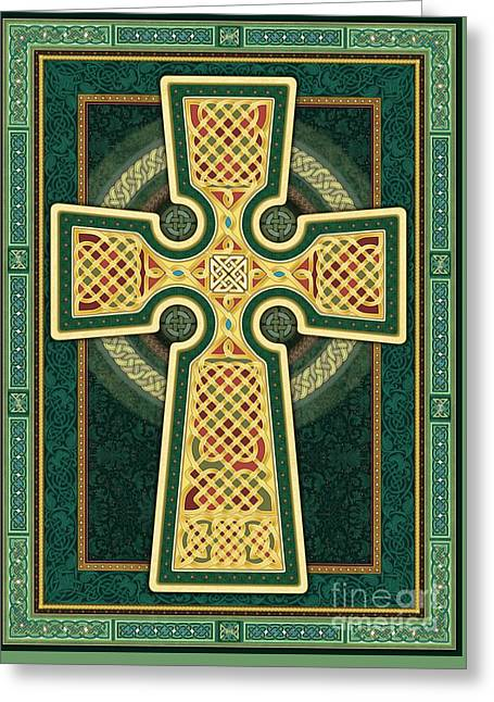 Stylized Celtic Cross In Green Greeting Card