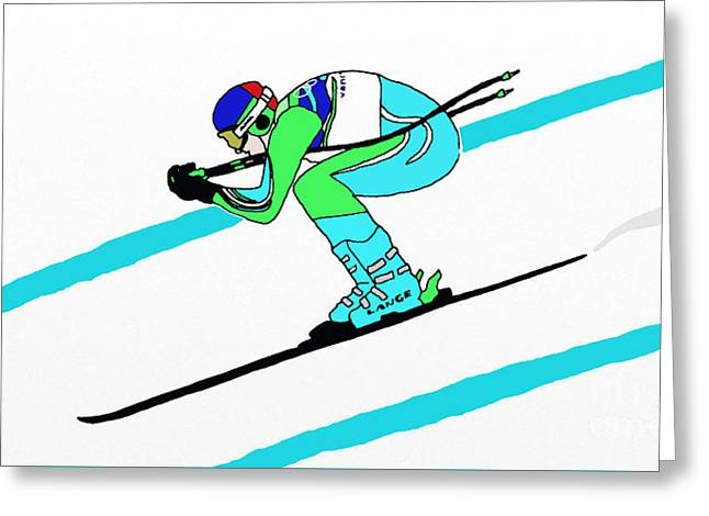 Stylized Downhill Skier Greeting Card by Priscilla Wolfe
