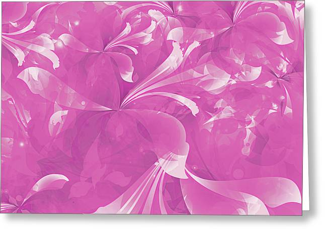 Stylized Flowers In Pink Greeting Card by Mari Biro