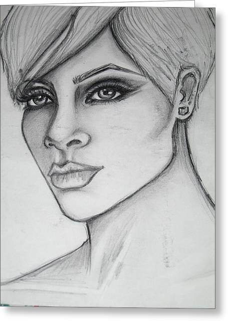 stylized portrait of Rihanna Greeting Card by Dana Biviano