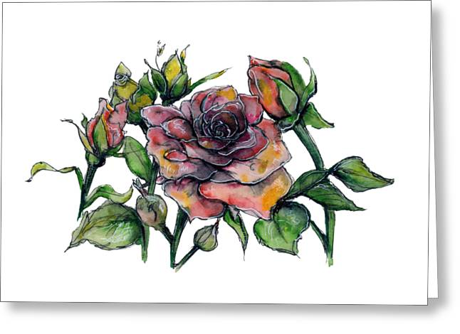 Greeting Card featuring the painting Stylized Roses by Lauren Heller