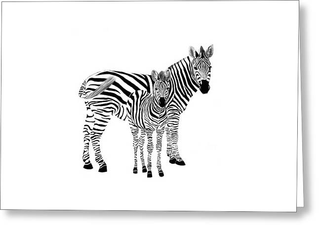 Stylized Zebra With Child Greeting Card