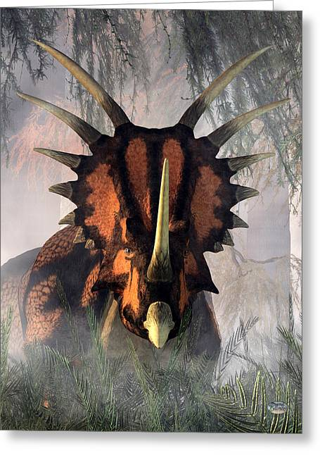 Styracosaurus In The Forest Greeting Card