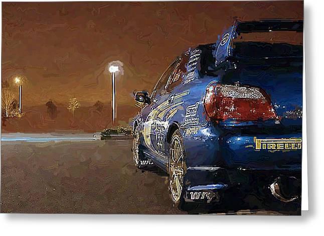 Subaru Impreza At Night Greeting Card