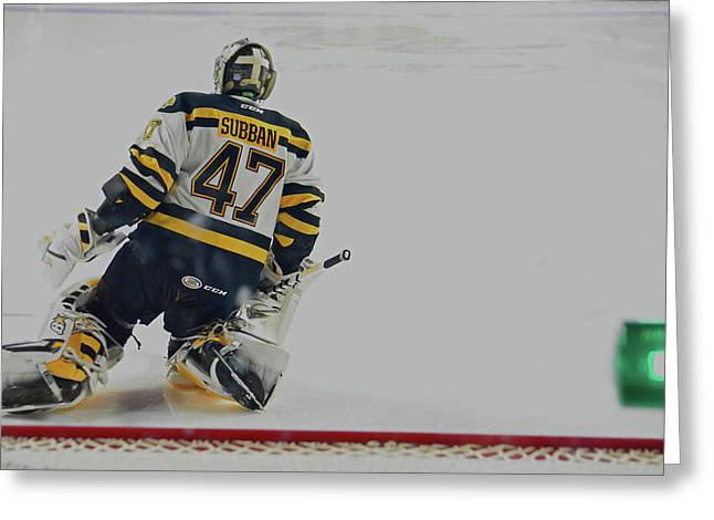 Subban Stretching Greeting Card by Mike Martin
