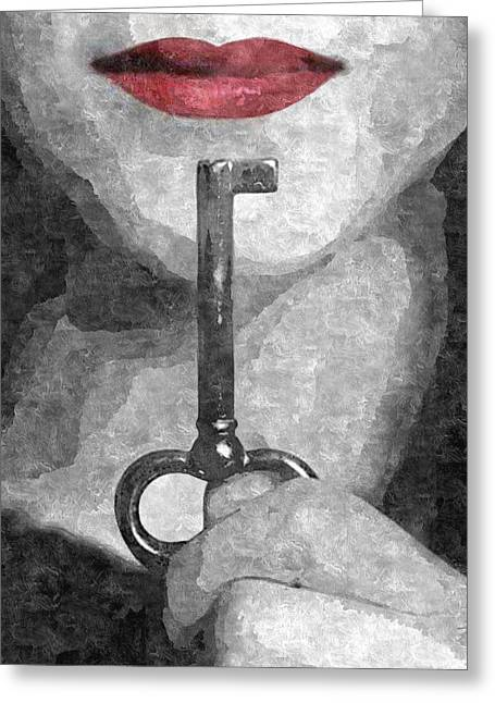 Submission In Red - Shhhh Greeting Card by BDSM love