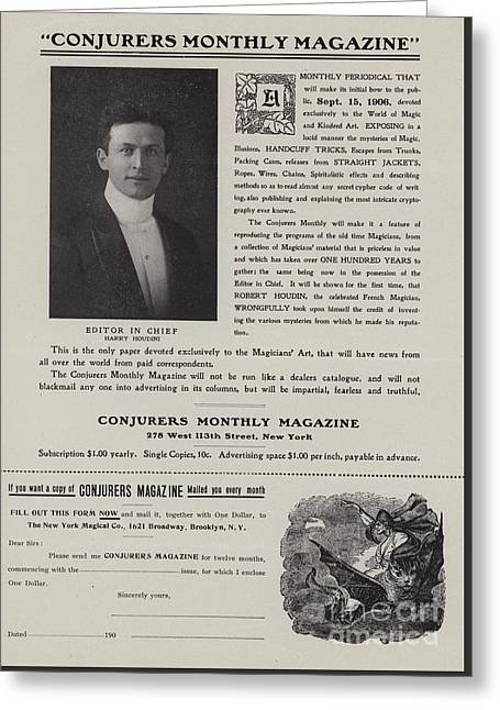 Subscription Form For Conjurers Monthly Magazine, Editor In Chief Harry Houdini, Circa 1906 Greeting Card