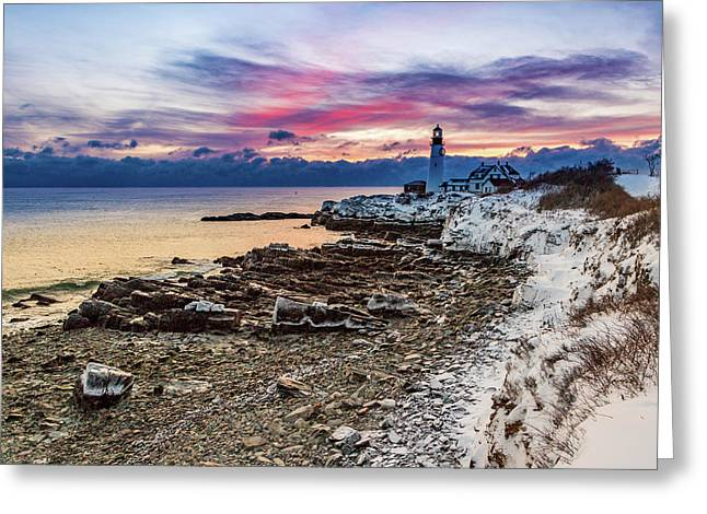 Greeting Card featuring the photograph Subtle Sunrise At Portland Head Light by Darryl Hendricks