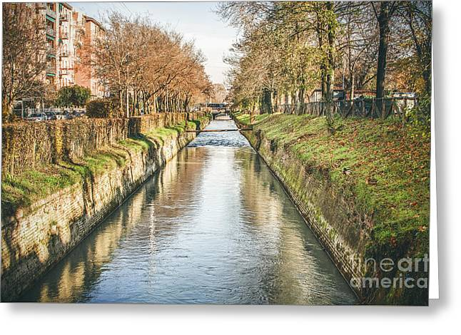 suburb river canal canvas Bologna Reno river print italy Greeting Card by Luca Lorenzelli
