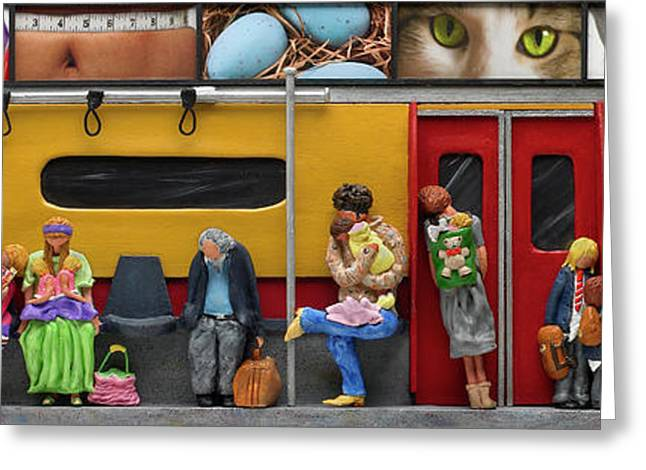 Crowd Mixed Media Greeting Cards - Subway - Lonely Travellers Greeting Card by Anne Klar