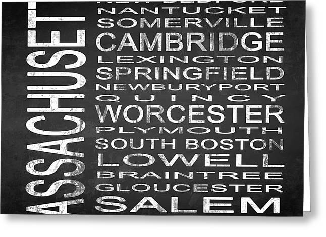 Subway Massachusetts State Square Greeting Card