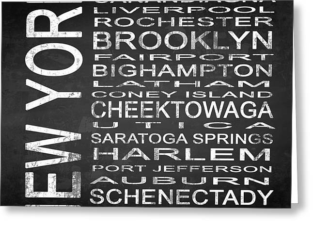 Subway New York State 3 Square Greeting Card by Melissa Smith
