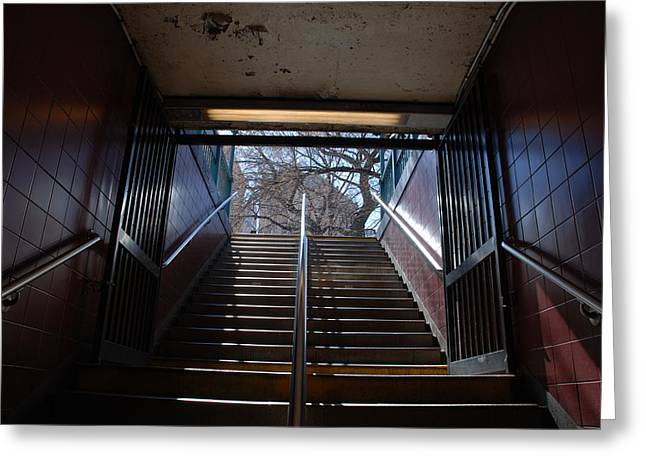 Greeting Card featuring the photograph Subway Stairs To Freedom by Rob Hans