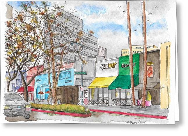 Subway, Wilshire Blvd. And Roxbury Dr., Beverly Hills, California Greeting Card